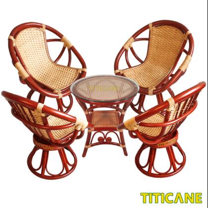 TITICANE Egg Rattan Rotate Chair [ Kerusi Rotan Putar ]