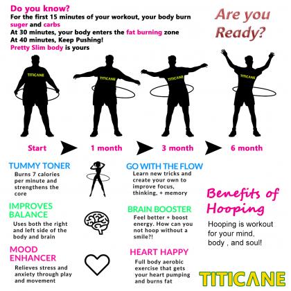 TITICANE Fitness Exercise Hula Hoop [ Manau 34 inch ] [ Rattan / Rotan ]