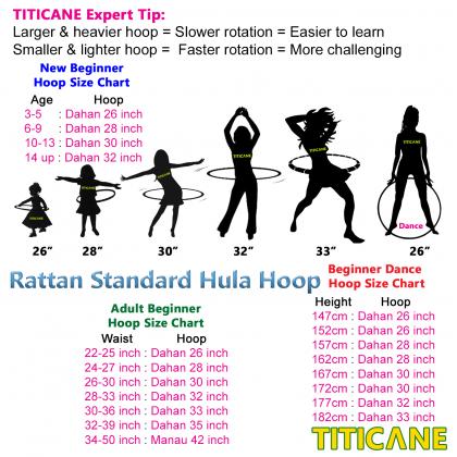 TITICANE Fitness Exercise Hula Hoop [ Manau Giant 42 inch ] [ Rattan / Rotan ]