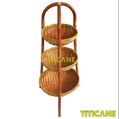 TITICANE 3 Layer Storage Round Rack [ Rak Rotan ] [ Rattan Dahan ]