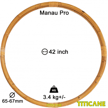 TITICANE Fitness Exercise Hula Hoop [ Manau Pro 42 inch ] [ Rattan / Rotan ]