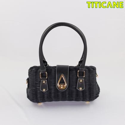 TITICANE Black Lily Handicraft Bag [ Rattan / Rotan ]