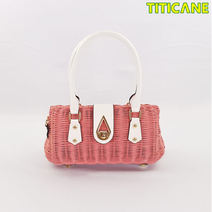 Pink Lily Handicraft Bag [ Rattan / Rotan ]