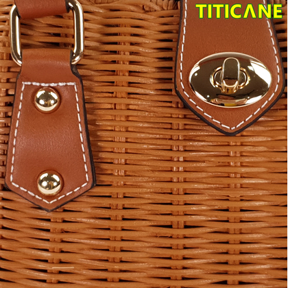 TITICANE Brown Daisy Handicraft Bag [ Rattan / Rotan ]