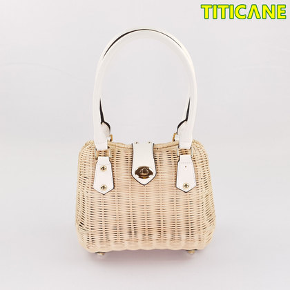 White Daisy Handicraft Bag [ Rattan / Rotan ]
