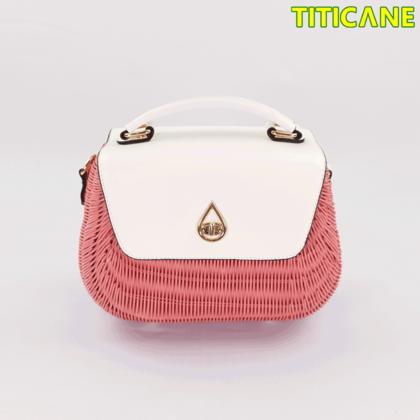 Pink Tulip Handicraft Bag [ Rattan / Rotan ]