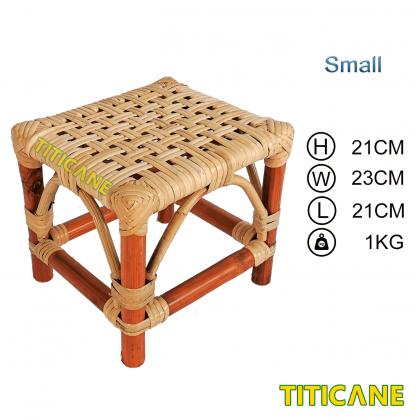 TITICANE Foot Stool [ Bangku Rotan ] [ Rattan Dahan ] [ Small ]