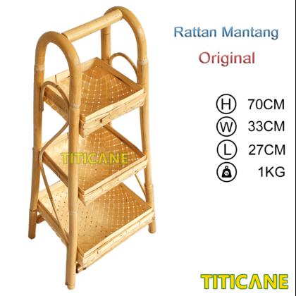 TITICANE 3 Layer Square Storage Rack [ Rak Rotan ] [ Rattan Mantang ]