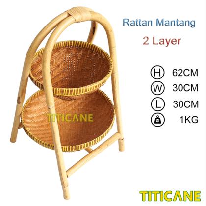 TITICANE 2 Layer Storage Round Rack [ Rak Rotan ] [ Rattan Mantang ]