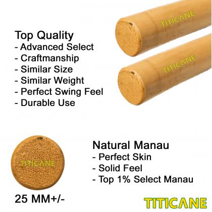 TITICANE Kali Stick [ 32 Inch ] [ Manau Natural ] [ 1 Pair ] [ Rattan / Rotan ]