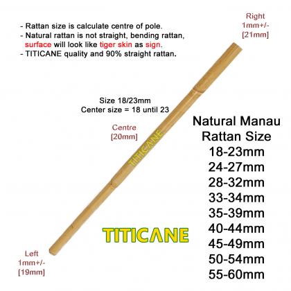 TITICANE Manau Stick [ 54 INCH ] [ Natural 28-32mm ] [ Rattan / Rotan ]