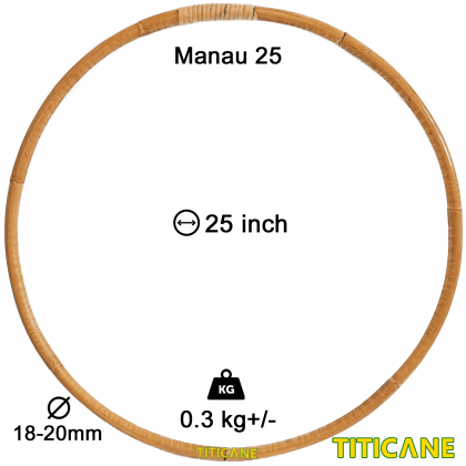 TITICANE Fitness Exercise Hula Hoop [ Manau 25 inch ] [ Rattan / Rotan ]