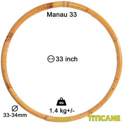 TITICANE Fitness Exercise Hula Hoop [ Manau 33 inch ] [ Rattan / Rotan ]
