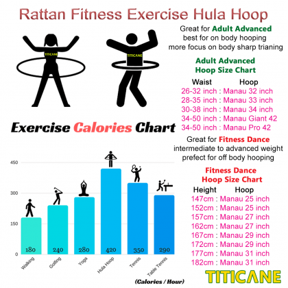 TITICANE Standard Hula Hoop [ Dahan 28 inch ] [ Rattan / Rotan ]