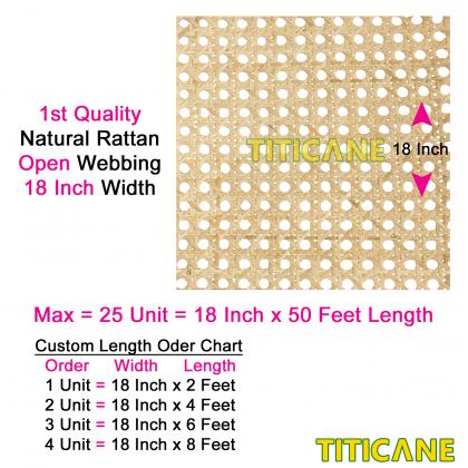 TITICANE Natural Rattan Open Webbing [ 18 Inch ] [ 2 Feet Per Unit ]