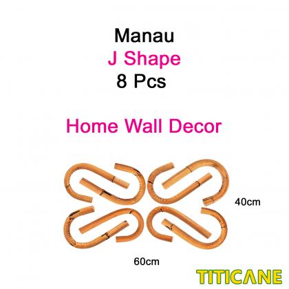 TITICANE Manau J Shape Wall Decor [ 8 Pcs ] [ Rattan / Rotan ]