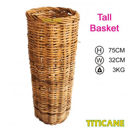 TITICANE Rattan Round Basket [ Tall ] [ Bakul Rotan ]