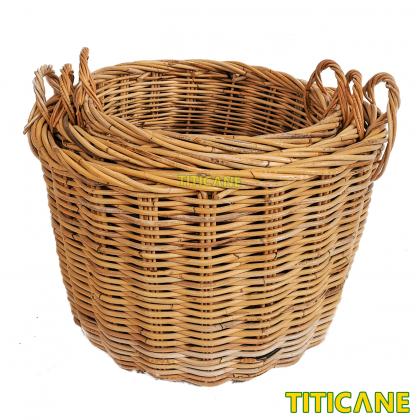 TITICANE Rattan Round Basket With Handle [ Small ] [ Bakul Rotan ]