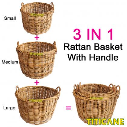 TITICANE Rattan Round Basket With Handle [ Large ] [ Bakul Rotan ]